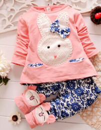 Wholesale Korean Porcelain - 2015 Autumn Korean blue and white porcelain rabbit of foreign trade children's clothing girl suit children sets