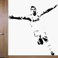 Wholesale Sticker 52 - Free Shipping Home Decor Wall stickers 1110mm*1180mm PVC Vinyl Removable Art Mural Home decor Football Cristiano Ronaldo C-52
