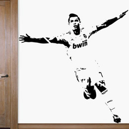 Wholesale Football Wall Decor - Free Shipping Home Decor Wall stickers 1110mm*1180mm PVC Vinyl Removable Art Mural Home decor Football Cristiano Ronaldo C-52