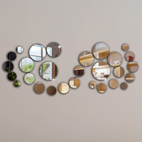 Wholesale Free Gift Stickers - 28pcs circle mirror wall sticker,frame, wall stickers luxury home decoration best gift home!Free shipping!