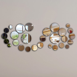 Wholesale Wall Art Free Shipping - 28pcs circle mirror wall sticker,frame, wall stickers luxury home decoration best gift home!Free shipping!