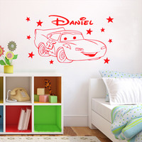 Wholesale Wholesale Custom Car Decals - Lightning McQueen,Cars Mcqueen Stars Custom Name Vinyl Wall Stickers Art Decals Poster Children Kids Nursery Rooms Decoration