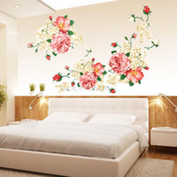 Wholesale Wall Stickers Peony - New 2015 DIY Bloom Peony Flowers Queen Antique Style Removable Wall Stickers Decals Home Decoration For Liveing Room Bedroom