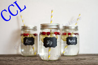 Wholesale Wedding Ideas Decorations - Free shipping 36pieces Fancy Mason Jar Wedding Chalkboard Labels , Wine Glass Drink Cup Label diy Reception Decoration idea