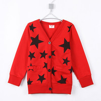 Wholesale Cardigan Girl Boy Star - 2015 hot sale Boys five stars cardigan kids clothing baby casual autumn coats A0005