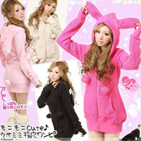 Wholesale Rabbit Hoodie For Women - Japanese Bunny Rabbit Ear Hot Tops Cute Coat Hoodie Jacket Overcoat Cosplay Warm For Free Shipping
