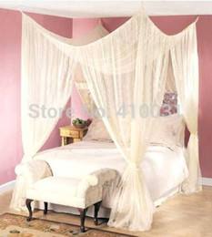 Wholesale Mosquito Net Canopy Queen Size - Wholesale-4 POST BED CANOPY FOUR CORNER POINT BUG INSECT MOSQUITO NET FLY NETTING MESH BEDS CANAPY QUEEN KING SIZE BEDROOM CURTAIN DREAMMA