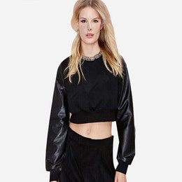 7e10e9938a923 7 Photos Leather shirt women short sLeeve For Sale - Women Brand PU Leather  Patchwork Black Cropped Short