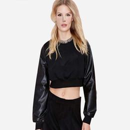 Wholesale Women Long Leather Sleeve Shirts - Women Brand PU Leather Patchwork Black Cropped Short Sweatshirts Hoodies Casual Crop Top Sweatshirt Women Pullover T-shirt 907A