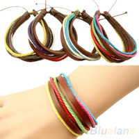 Wholesale Fashion Men s Women s Surfer Tribal Wrap Multilayer Leather Adjustable Cuff Bracelet O9G
