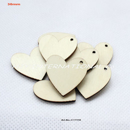 Wholesale Wholesale Wooden Key Chains - (150pcs lot) One hole unfinished blank wooden heart crafts supplies paint wedding key chain ornaments-CT1110