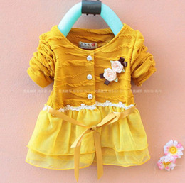 Wholesale Baby Girls Pink Ruffle Coat - Free shipping 2015 retail spring autumn baby girl coat children ruffle pink floral lace outwear ((GQ-001))