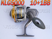 Wholesale Huihuang Spinning - SALE! 1PCS Pack 10+1BB 5.1:1 KLG 5000 Series HUIHUANG Front Drag Fishing Reels Cast Aluminium Spool Spinning reel