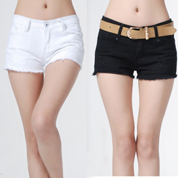 Wholesale Wholesale Cut Off Denim Shorts - Freeshipping New Sexy Womens' Hole Solid Denim Shorts Low Waist Hot Cut-Off Jeans Short Pants dropshipping