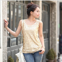 S-5XL New 2015 Frauen Tops Fashion Loose Paillette Tops Plus Size Dekorative Sequins Tank Tops 2 Farben