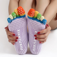 Calze Yoga Moda sport palestra Fitness Socks Pilates Colorful Five Finger Toe No-Slip Foot Massage Con Glue Dots A Pair YG0002