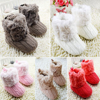Wholesale Baby Crochet Boots White - Infant Baby Toddler Crochet Knit Fleece Boots Warm Knit Bootee Crib Shoes Socks