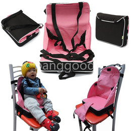 Wholesale Child Booster Seat Harness - Wholesale-Portable Baby Booster Seat Chair Child Car Safety Seats Travel High Chair Foldable Light Weight Harness for Pink