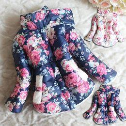 Wholesale 4t Girls Winter Coats - Wholesale-New Baby Girl Winter Coat Turtleneck Flower Print Fleece Inner Warm Kids Jackets Children Outerwear Girls Winter Coat 2-6Y V8311