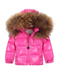 Wholesale Girls Puffer Down - Wholesale-Famous Brand Girls (Little Big Kids) Padded Puffer Down Filled Winter 2015 Warm Jacket coat With Large Raccoon Fur Trim Hood