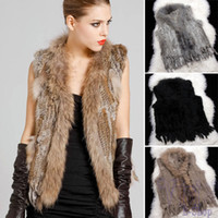 Wholesale Knit Vest Fur Collar - Fashion Genuine Knitted Raccoon Rabbit Fur Vest Collar Winter Jacket Women Natural Real Fur Coats Plus Size S - XXXL Black Gray