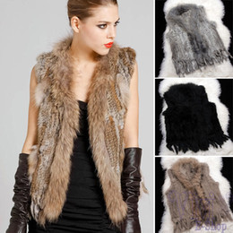 Wholesale Vest Fur Real - Fashion Genuine Knitted Raccoon Rabbit Fur Vest Collar Winter Jacket Women Natural Real Fur Coats Plus Size S - XXXL Black Gray
