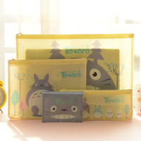 Wholesale Cute A4 Files - 4pcs Lot Korean Stationery Miyazaki Hayao Totoro Cute Cartoon A4 A5 File Bag For Documents,PVC Plastic Document Holders