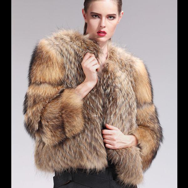 2017 Bg22640 Natural Real Raccoon Dog Fur Coats Wholesale Womens ...