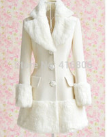 Wholesale Elegant Women Winter Coat Slim - New Arrival Elegant Turn-Down Collar Fake Fur Embellished Long Sleeve White Coat For Women In Winter Quality Women's Slim Coat