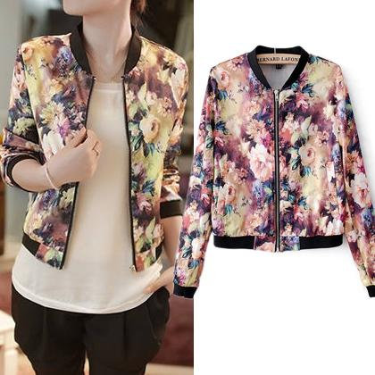 2015 New Celebrity Style Forest Flower Ladies Printed Crop Bomber ...