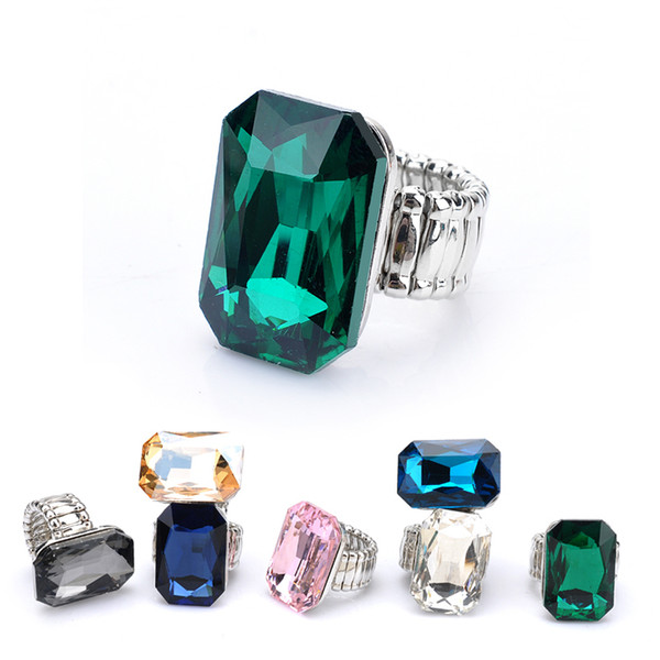 Personality Elegant Big Rings For Women 7 Colors Big Glass Stone Fashion Elastic Stretch Finger Rings Jewelry Love Free Shipping