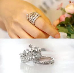 Wholesale Sapphire Ring Sets - 2Pcs set silver plated crystal Rhinestone imperial crown circle wedding rings for women engaement ring sapphire jewelry