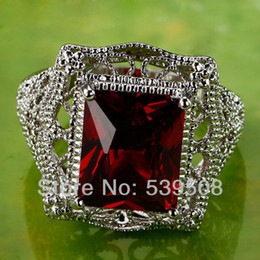 Wholesale Men Garnet Ring - Hot Sales Fashion Wedding Jewelry Emerald Cut Red Garnet 925 Silver Ring Size 6 7 8 9 10 11 Wholesale Women Men Party Gift Rings