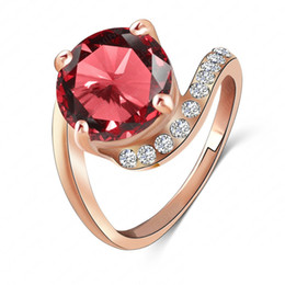 Wholesale Swa Elements - LZESHINE Brand Personalited Red Ruby Ring Real 18K Rose Gold Plated Genuine SWA Element Austrian Crystal Girls Rings Ri-HQ1023-A