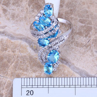 Swiss Blue & White Topaz 925 Sterling Silver Ring For Wo...