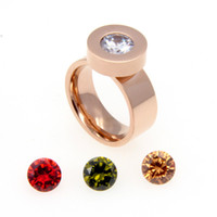 ingrosso gioielli intercambiabili pietre-Monili di marca di moda 2015 4 zirconi di pietra di cristallo anelli intercambiabili Anelli in acciaio inox 316L oro 316L per le donne