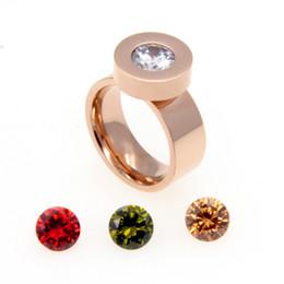 Gioielli intercambiabili pietre online-Monili di marca di moda 2015 4 zirconi di pietra di cristallo anelli intercambiabili Anelli in acciaio inox 316L oro 316L per le donne