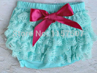 Wholesale Lace Bloomers For Toddlers - Lovely Baby Aqua Petti Lace Bloomers with Hot Pink Bow , Diaper Covers for Infant & Toddler Girls