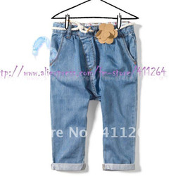 Wholesale Za Baby - Wholesale-6pcs lot(1-5Y) infant baby girls flower jeans with belt za girls jeans Harlan denim pants with flower belt kids Free shipping