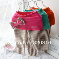 Wholesale Girls Striped Cotton Culottes Autumn - Wholesale-2015 spring models Kids girls bow bottoming culottes striped cotton casual pants wholesale children's clothing TZ19A02