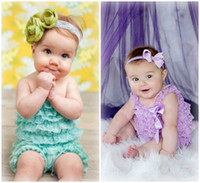 Wholesale Knee Length Rompers - Fashion Infant Baby Girls Lace Posh Petti Ruffle Rompers clothes with strap 0-2Y