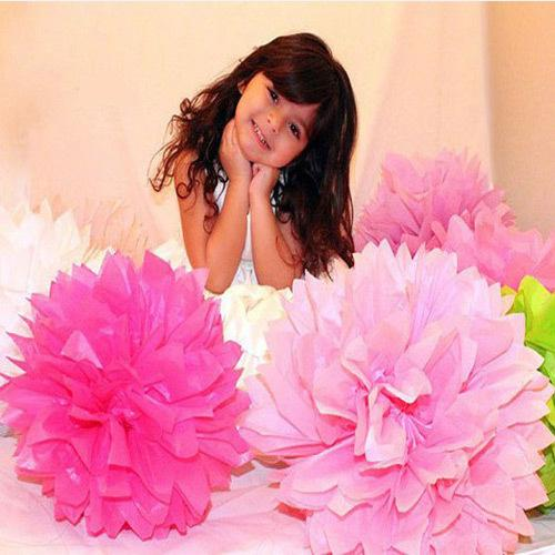 "Wholesale - Free Shipping 50pcs 8""(20cm) Tissue Paper Pom Poms Wedding Party Decor Craft festival decoration"