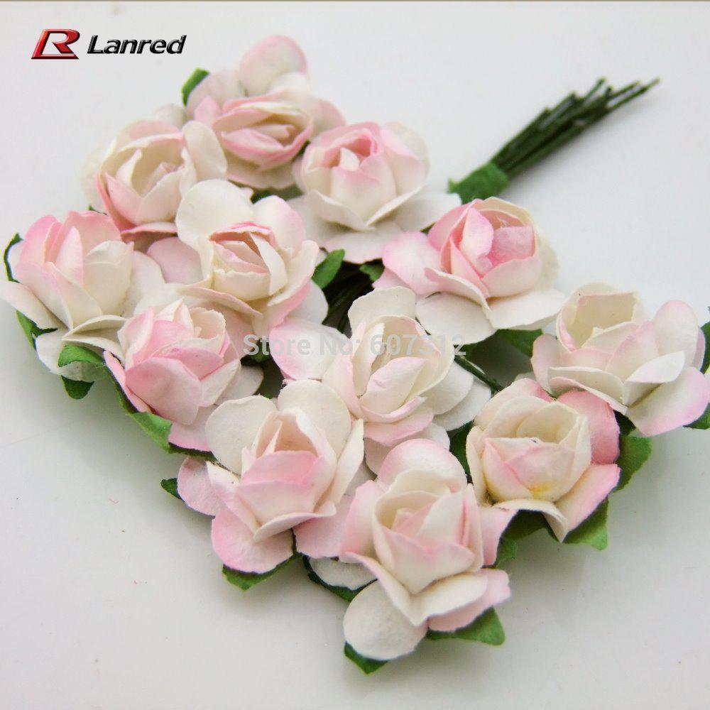 2018 Hot Sale 15mm Pink Mulberry Paper Flowers Handmade Scrapbooking