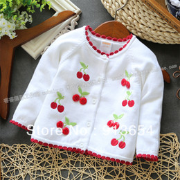 Wholesale Girls Cardigan Retail - Free shipping Retail new 2015 Spring autumn baby clothing children's outerwear baby sweater girls cherry cardigan sweater coat