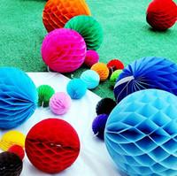 Wholesale Honeycomb Party 5cm - Wholesale 5cm, 8cm, 15cm, 20cm, 25cm 500pcs Tissue Paper Honeycomb Balls Decorations Honeycomb Paper Decor Wedding Party