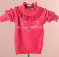 Wholesale Iso Kids Clothing - (3pcs lot) Diamonds Lace Collar Bottoming Baby Sweater Kid Sweater Girls Sweater Children Wear Sweaters Clothing {iso-14-8-3-A6}