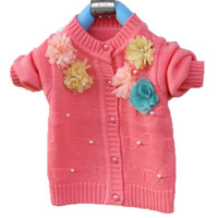 Wholesale Cardigan Sale Baby Girl - Hot Sale!!! 2015 New Arrival Flower Baby Sweaters Cardigan Girls Baby Kids Long Sleeve Tops Coats Free Shipping LQ256