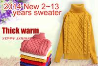 computadoras para niños al por mayor-Suéter de las niñas suéteres de cuello alto para niños de otoño-invierno para niños jerseys de punto para niños vestido de jersey cardigan ropa