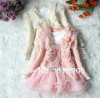 Wholesale Pink Tutu Coat - Clearance sale fall 2015 new Baby girls clothing set, Kids flower pearl lace suit coat+long sleeve veil tutu dress clothes
