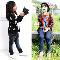 Wholesale Cardigan Girl Boy Star - Boys Girls Cotton Cardigan Long Sleeve Sweater Kids Star Print Jacket Tops Coat Free Shipping